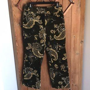 Olivia & Grace wide leg crop paisley velvet slacks